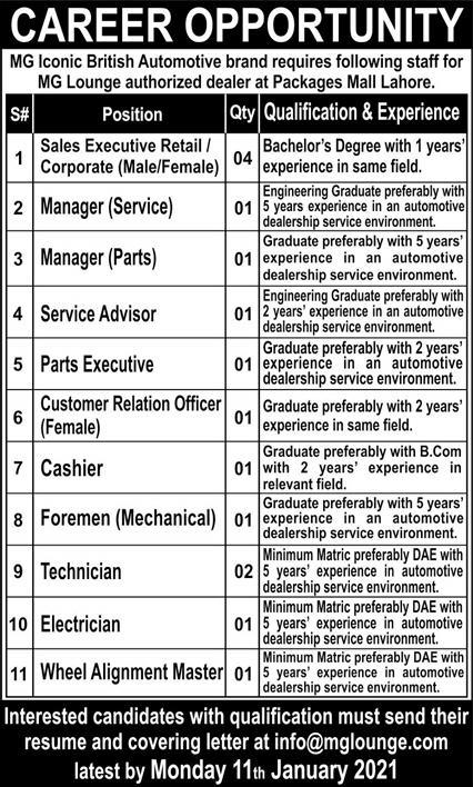 MG Iconic British Automotive Brand Jobs 2021 in Lahore