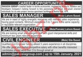 Pak Asia Group Jobs 2021 for Sales Manager & Civil Engineer