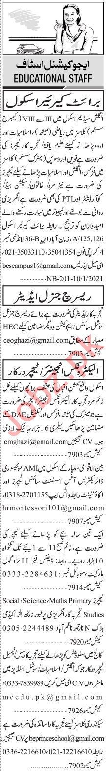 Jang Sunday Classified Ads 10 Jan 2021 for Educational Staff