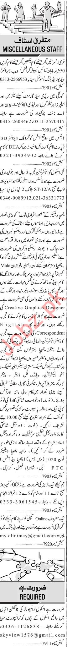 Jang Sunday Classified Ads 10 Jan 2021 for Multiple Staff