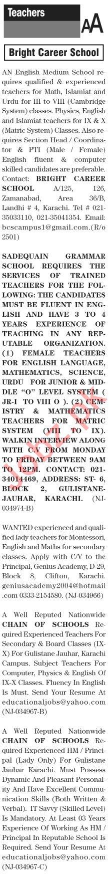 The News Sunday Classified Ads 10 Jan 2021 for Teachers