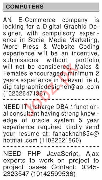 Dawn Sunday Classified Ads 10 Jan 2021 for Computer Staff