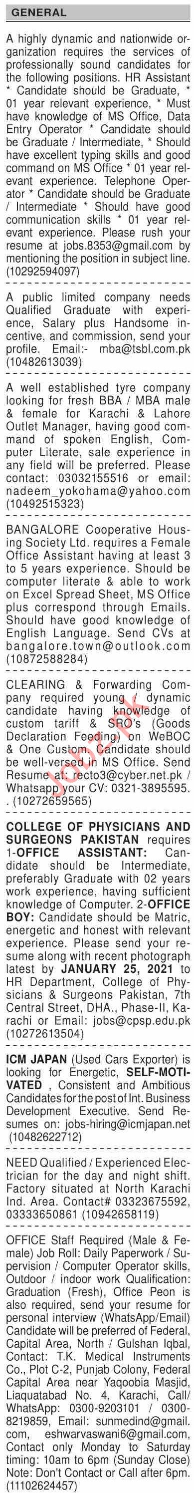 Dawn Sunday Classified Ads 10 Jan 2021 for General Staff