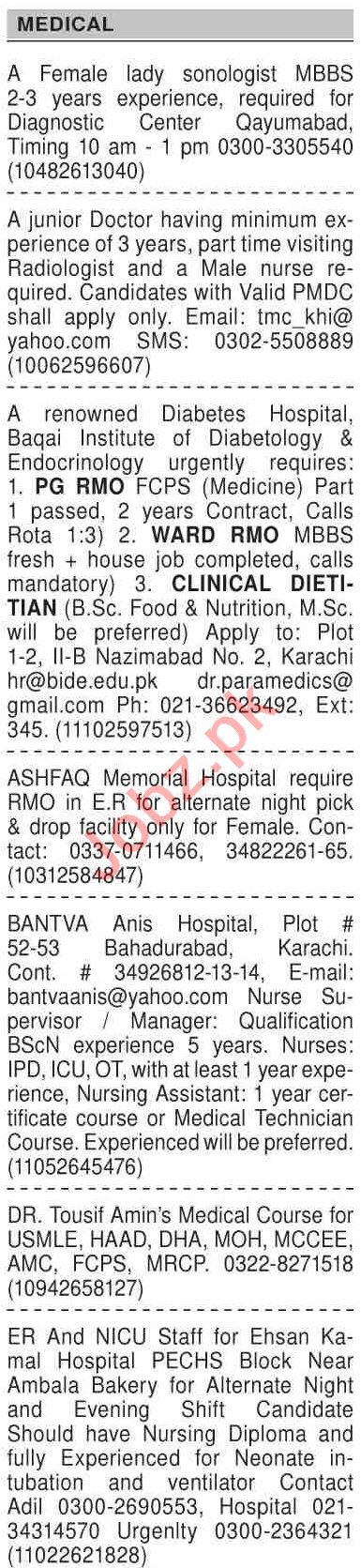 Dawn Sunday Classified Ads 10 Jan 2021 for Medical Staff