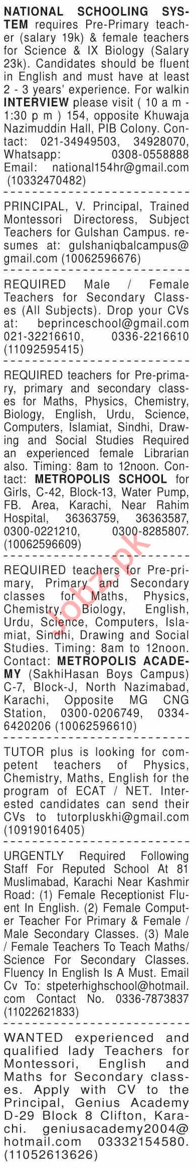 Dawn Sunday Classified Ads 10 Jan 2021 for Teaching Staff