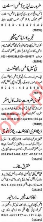 Nawaiwaqt Sunday Classified Ads 10 Jan 2021 General Staff