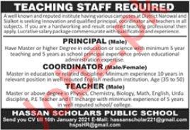 Hassan Scholars Public School Narowal Jobs 2021 Principal