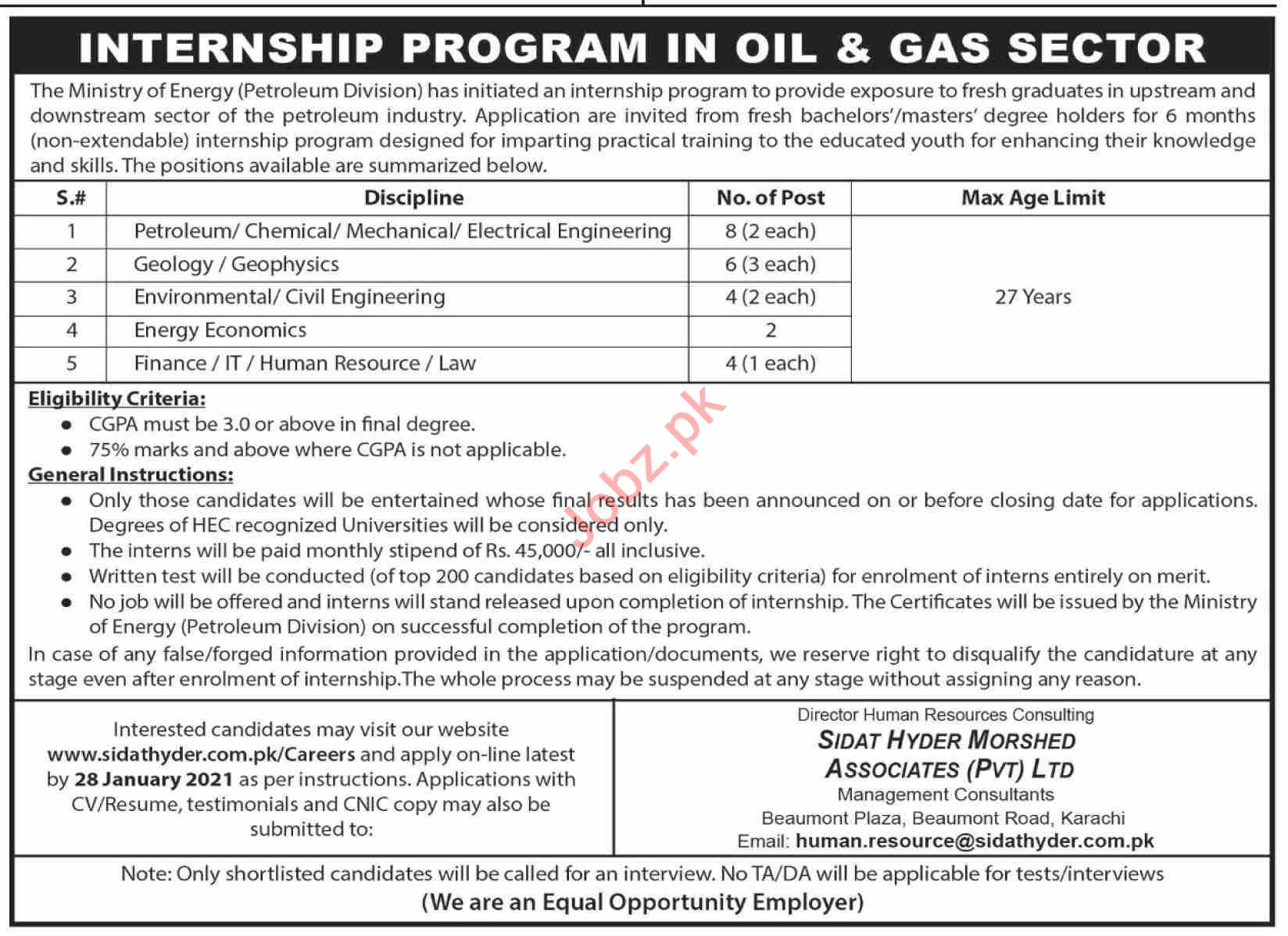 Petroleum Division Ministry of Petroleum Internship 2021