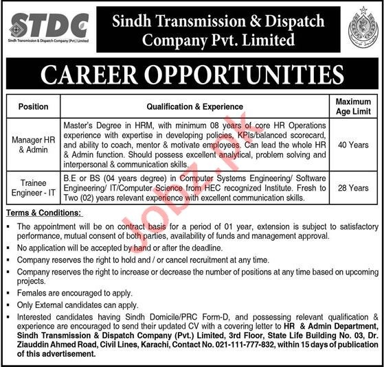 Sindh Transmission & Dispatch Company STDC Jobs 2021