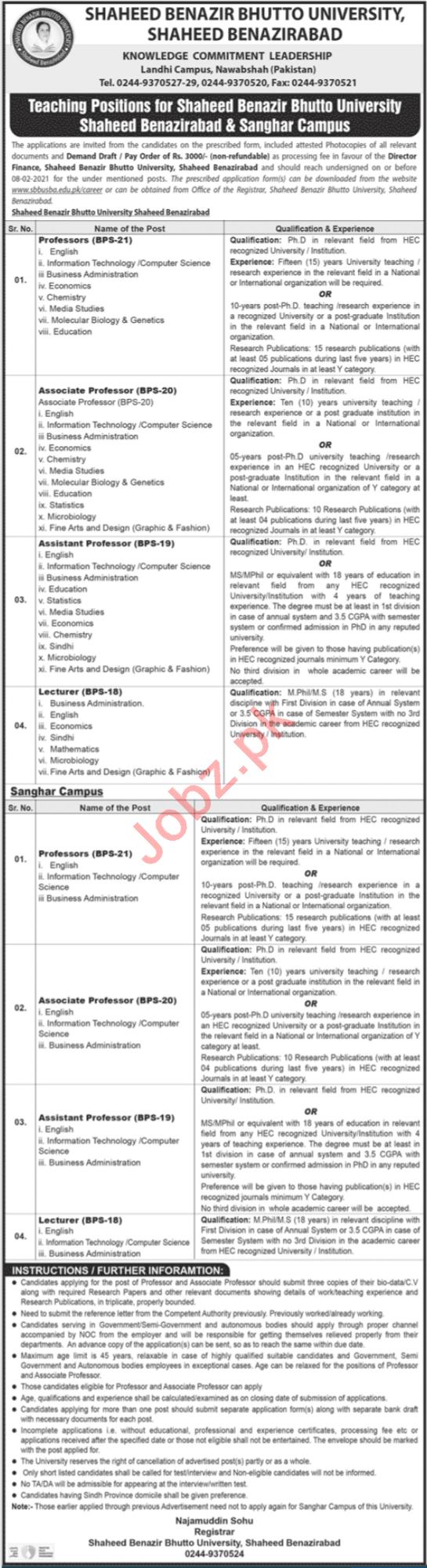 Shaheed Benazir Bhutto University Teaching Staff Jobs 2021