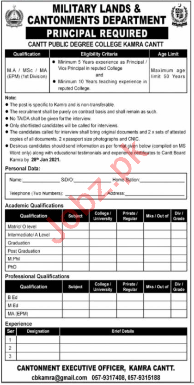 Cantt Public Degree College Kamra Cantt Jobs 2021