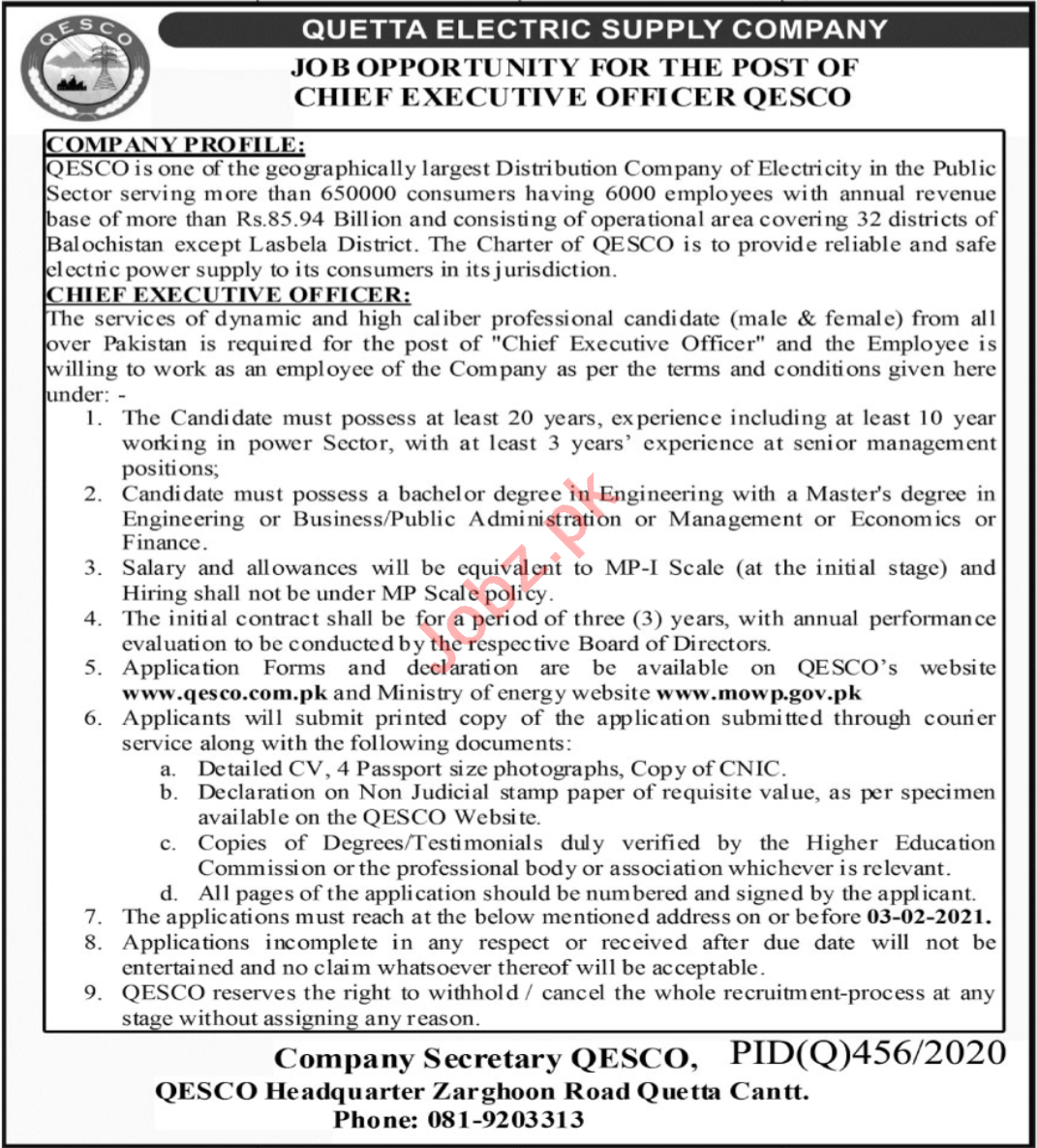 Quetta Electric Supply Company QESCO Jobs 2021 for CEO