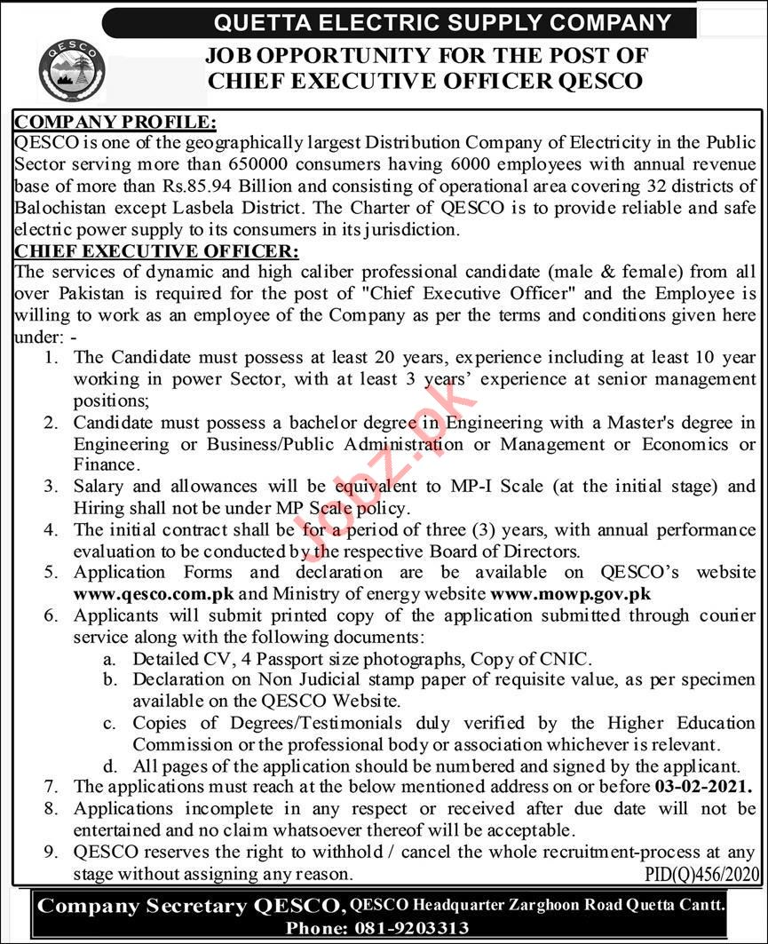 QESCO Balochistan Jobs 2021 for Chief Executive Officer