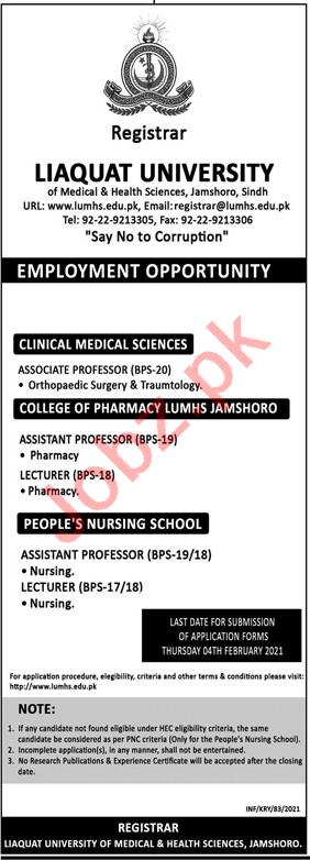Professor & Assistant Professor Jobs 2021 Liaquat University