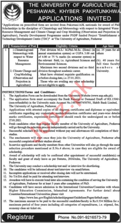 University of Agriculture Peshawar UAP Jobs 2021