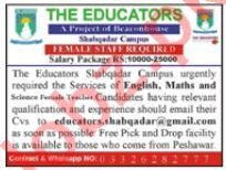 The Educators Shabqadar Campus Peshawar Jobs 2021