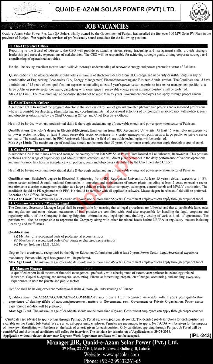 Quaid e Azam Solar Power QASP Jobs 2021 for CEO