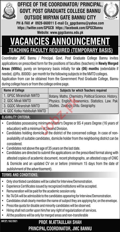 Government Post Graduate College Bannu Jobs 2021