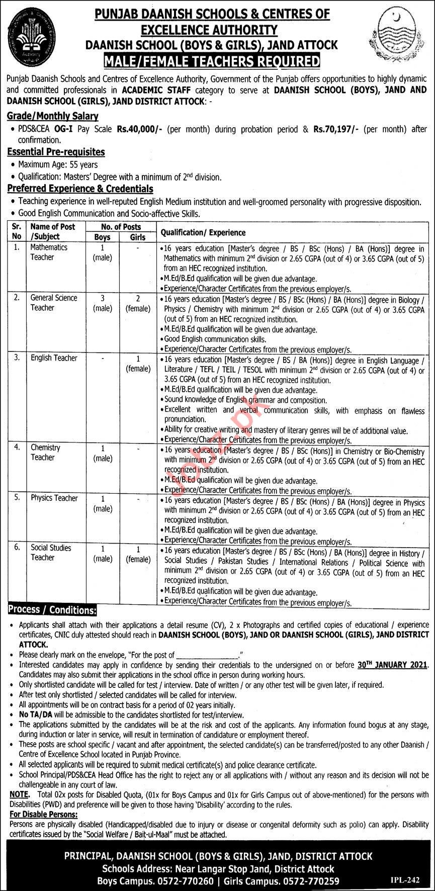 Daanish School Boys & Girls Jand Attock Jobs 2021 Teachers