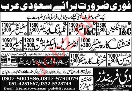 Cladding Erector & Industrial Electrician Jobs 2021 in KSA