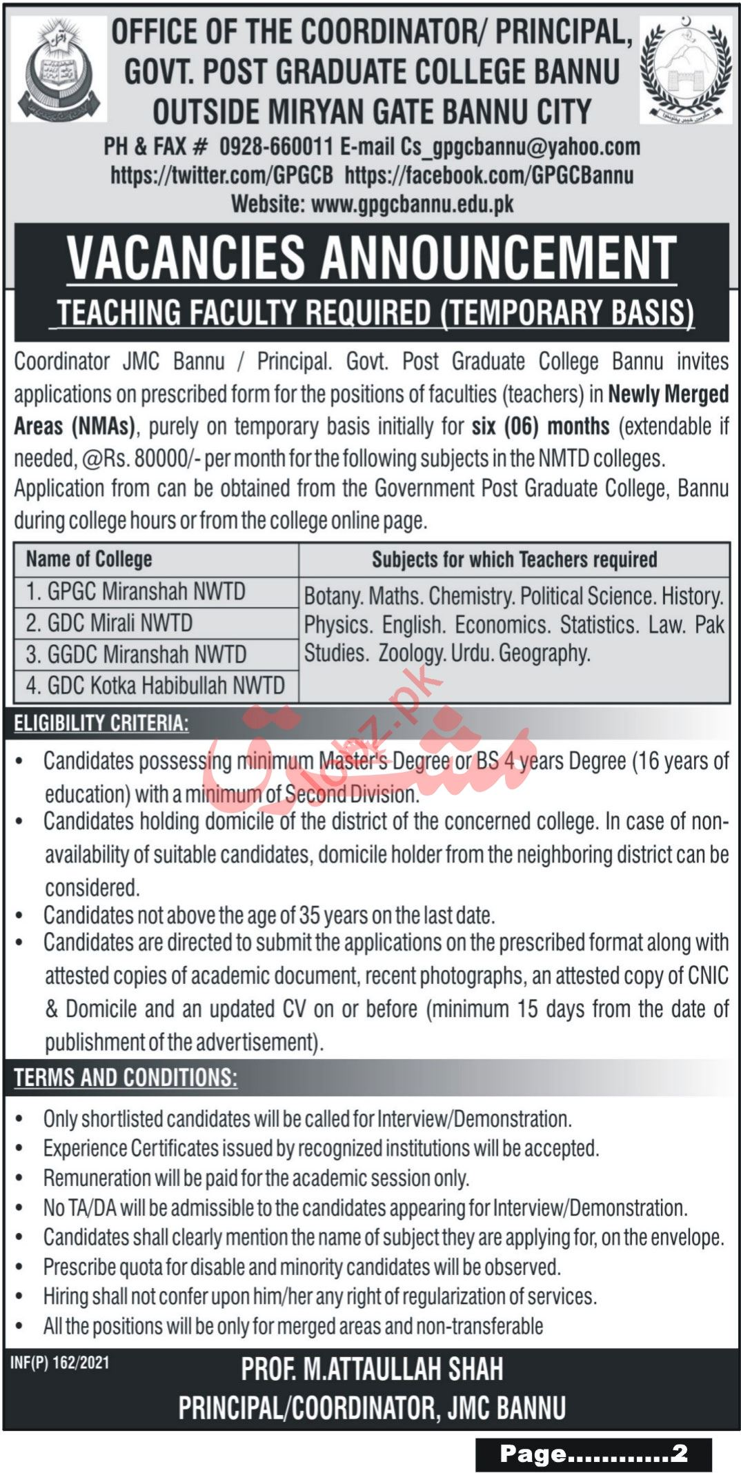 Government Post Graduate College Bannu Faculty Jobs 2021