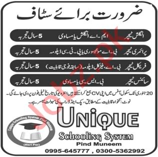 Unique Schooling System Pind Muneem Jobs 2021 for Teachers