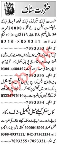 Lady Secretary & Call Center Staff Jobs 2021 in Lahore