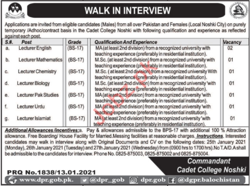 Cadet College Noshki Jobs 2021 for Lecturers