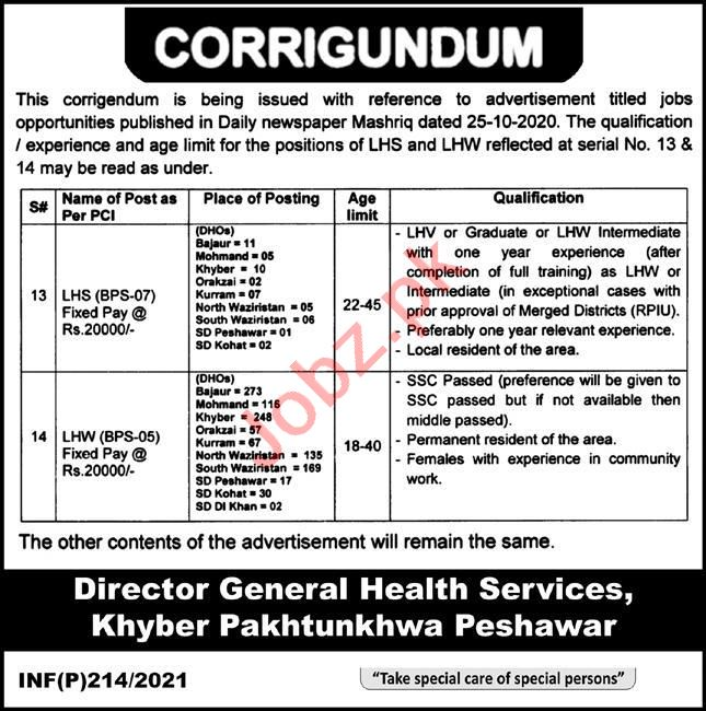 District Health Office DHO KPK Jobs 2021 for LHS & LHV