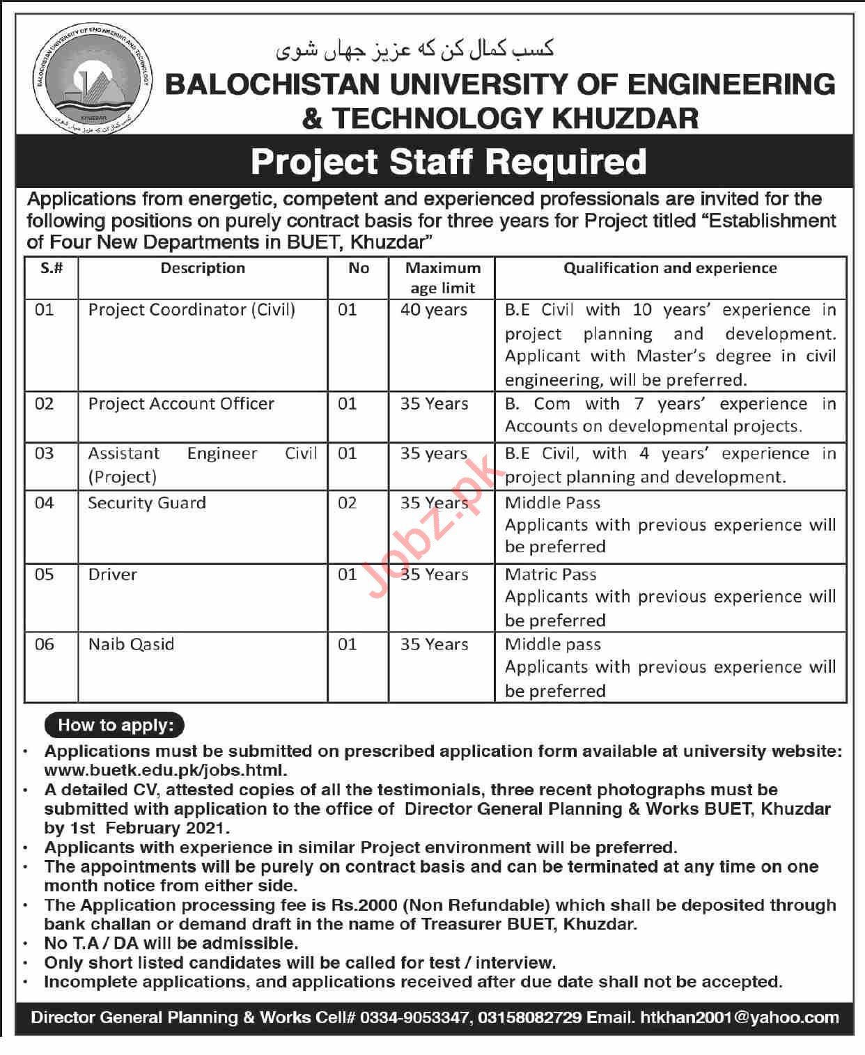 Balochistan University of Engineering BUET Khuzdar Jobs 2021