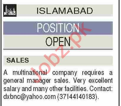 General Manager Sales & Manager Sales Jobs 2021 in Islamabad