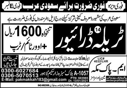 Trala Driver Job in Saudi Arabia