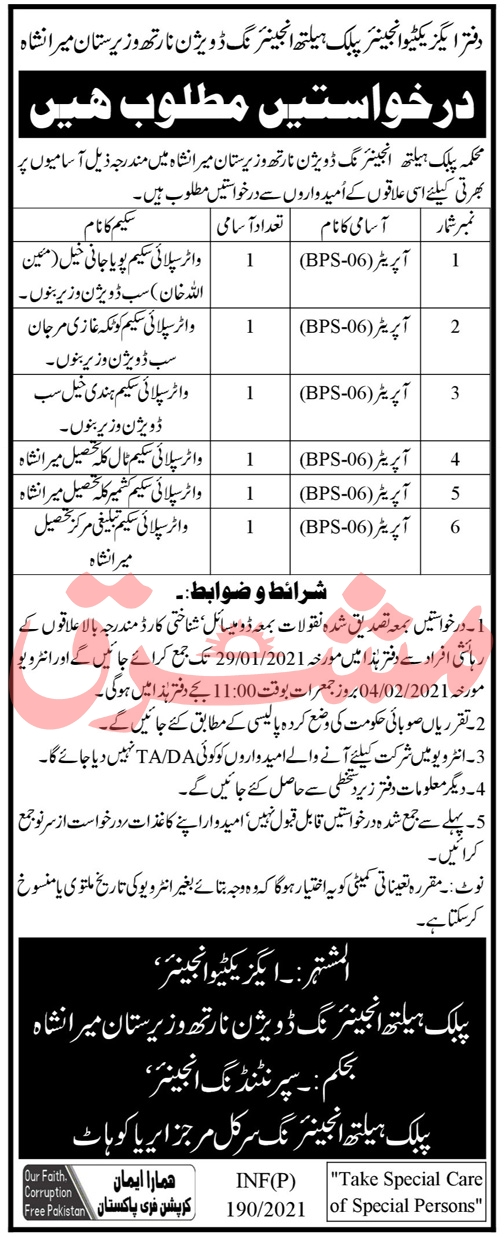 Public Health Engineering Division North Waziristan Job 2021