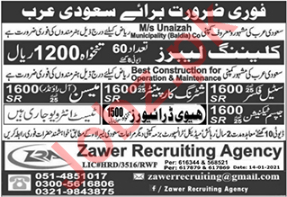 Construction Staff Jobs in MS Unaizah Municipality Baldia Co
