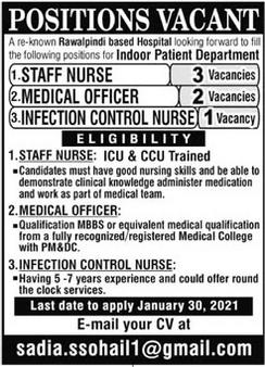 Medical Officer Infection Control Nurse Jobs in Rawalpindi