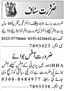 Homeopathic Doctor Office Boy Jobs in Lahore