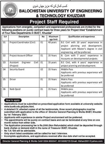 Balochistan University of Engineering & Technology Jobs 2021