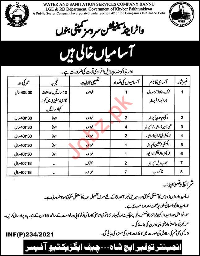 Water & Sanitation Services Company Technical Jobs 2021