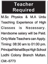 Teaching Staff Jobs in Multan