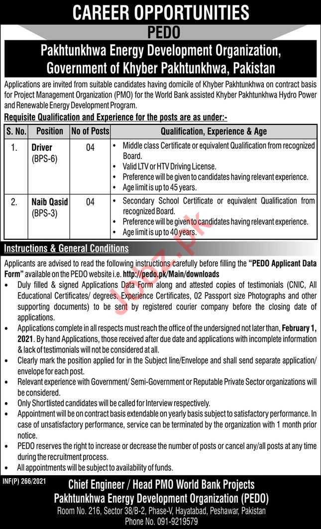 PEDO Organization Driver & Naib Qasid Jobs 2021