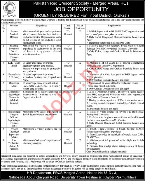 Pakistan Red Crescent Society PRCS Medical Jobs 2021