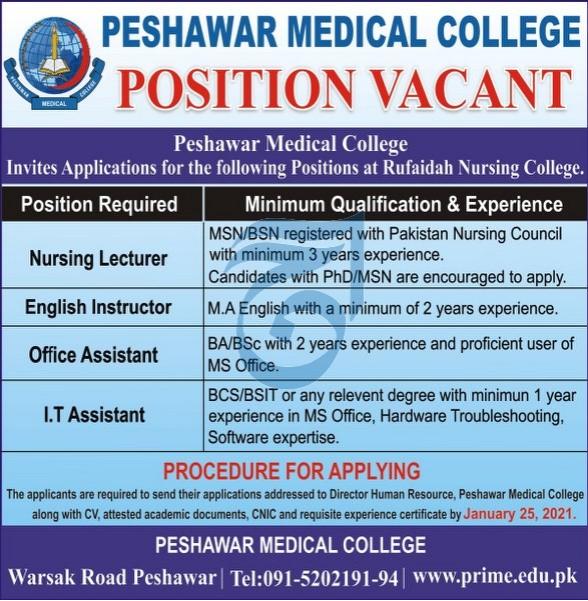 Peshawar Medical College Jobs 2021