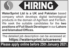 WaterSprint Limited Jobs 2021 in Lahore and Islamabad