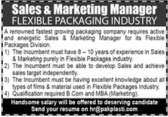Sales Manager Marketing Manager Jobs in Karachi