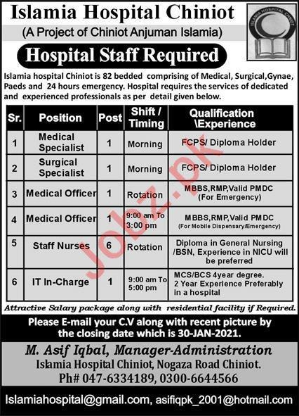 Islamia Hospital Chiniot Medical Staff Jobs 2021