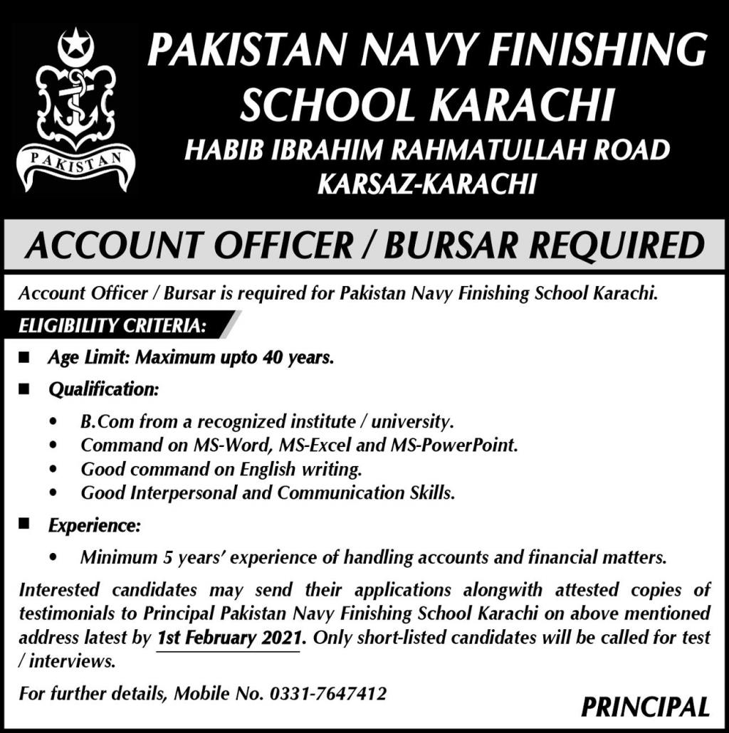 Pakistan Navy Finishing School Jobs 2021 in Karachi