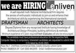 Draftsman Architect Jobs in Lahore