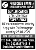Production Manager Jobs in Lahore