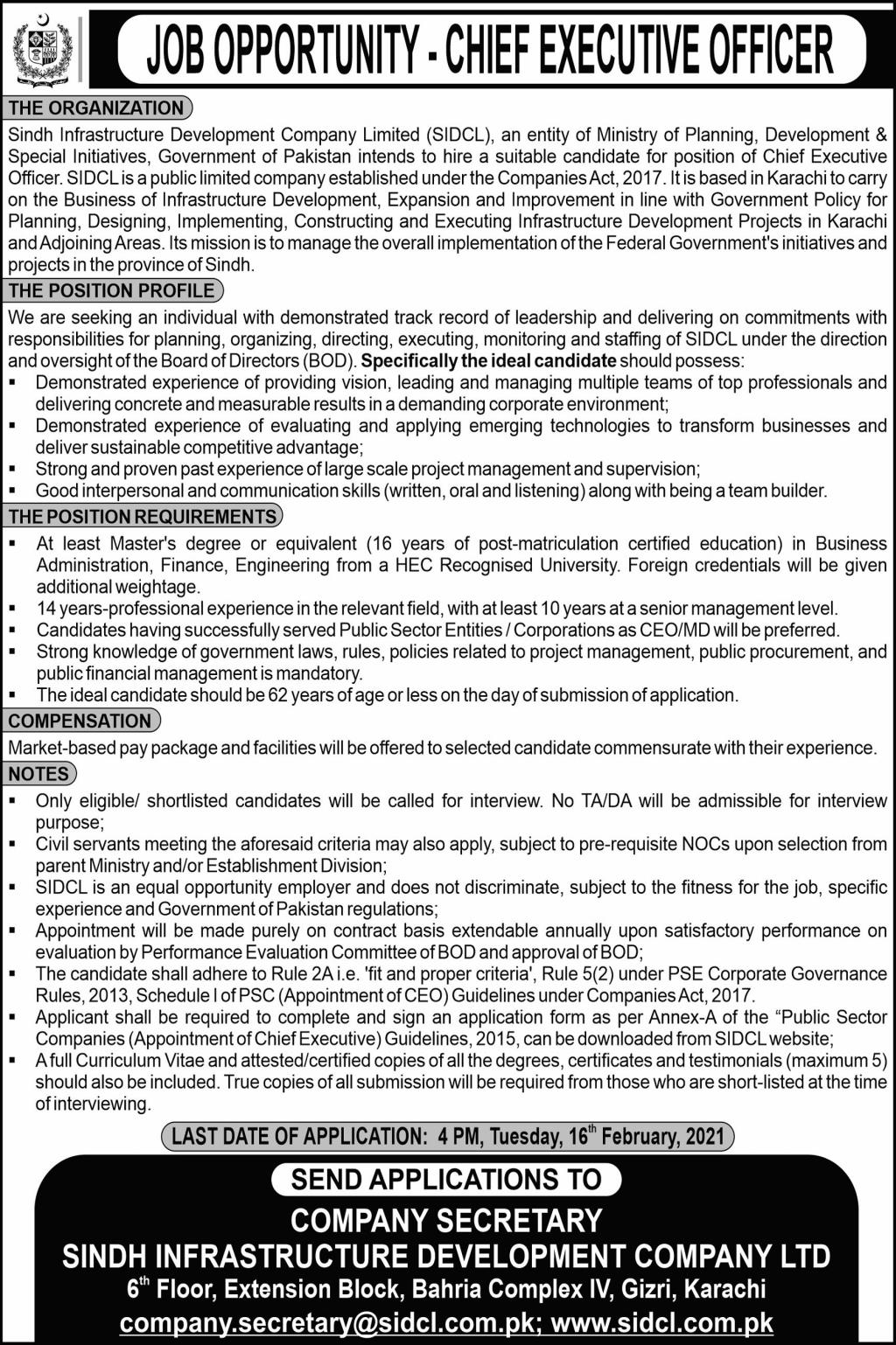 Sindh Infrastructure Development Company Limited Jobs 2021