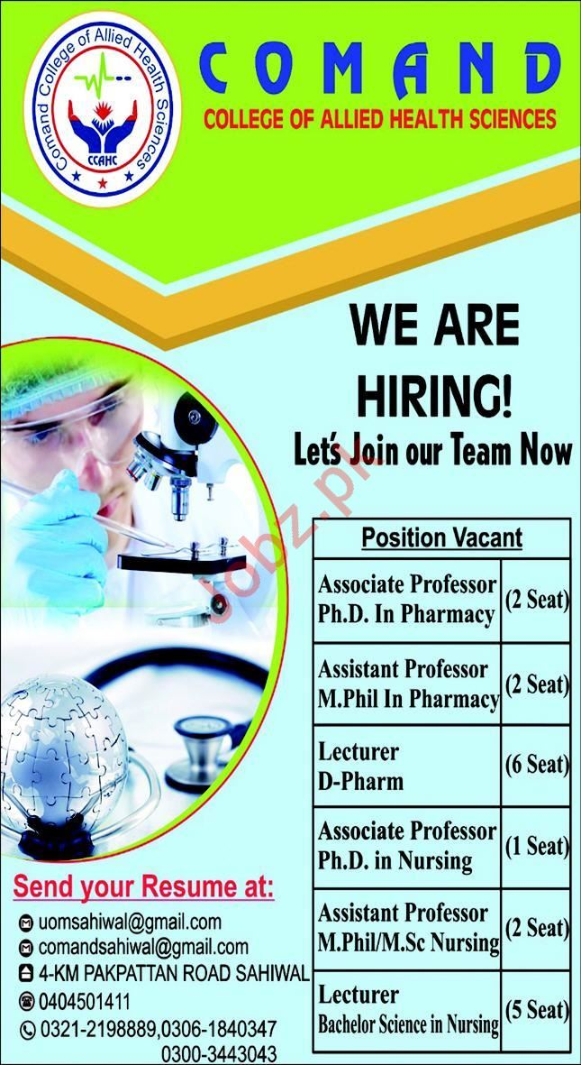 Comand College of Allied Health Sciences Faculty Staff Jobs